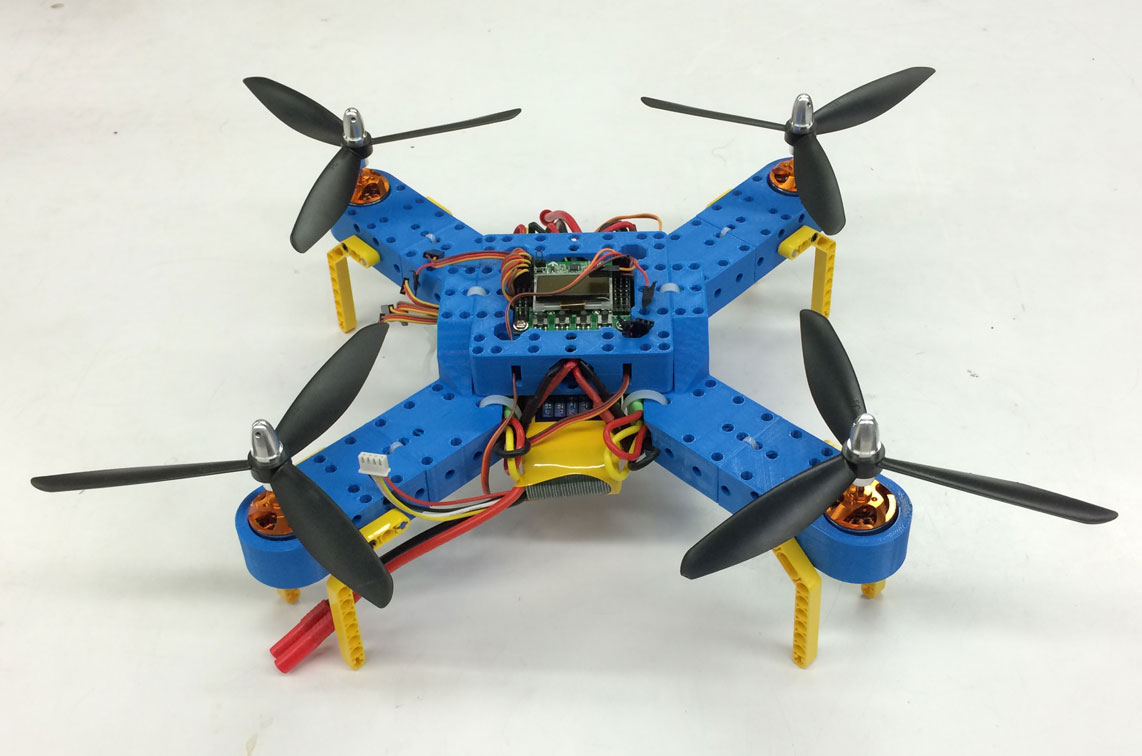 A photo of my 3D-printed quadcopter which is fully compatible with Lego Technic parts